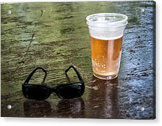 Raybans And A Beer Acrylic Print by Bill Cannon