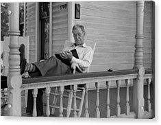 Reading A Good Book. Middle Age Man Acrylic Print by Everett