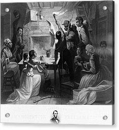 Reading Emancipation Proclamation Acrylic Print by Photo Researchers