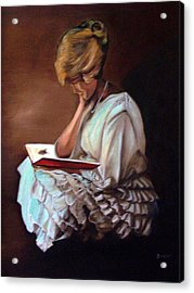 Reading Acrylic Print by Joyce Reid