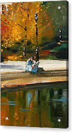 Reading The Paper Acrylic Print by Ylli Haruni