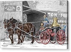 Ready And Waiting - Canal Fulton Ohio Fire Engine Print Acrylic Print