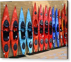 Acrylic Print featuring the photograph Ready Kayaks by Mary Zeman