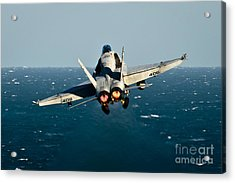 Rear View Of An Fa-18c Hornet Taking Acrylic Print by Stocktrek Images