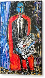 Recalling The Portrait Of An Unknown Man Reading A Newspaper Chevalier X By Andre Derain Acrylic Print by Eria Nsubuga