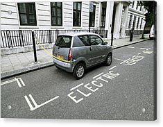 Recharging An Electric Car Acrylic Print by Martin Bond