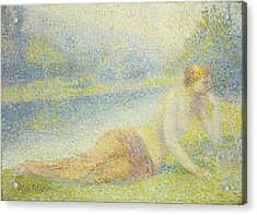Reclining Nude Acrylic Print by Hippolyte Petitjean