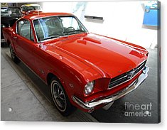 Red 1965 Ford Mustang Acrylic Print by Wingsdomain Art and Photography