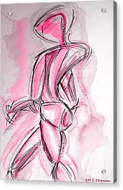 Red Abstract Nude Acrylic Print by M C Sturman