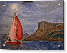 Red Alert At Fairhead By Moonlight Acrylic Print by Paul Morgan