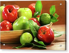 Red And Green Apples In A Bowl Acrylic Print by Sandra Cunningham