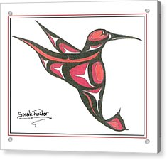 Red And Oj Humming Bird Acrylic Print by Speakthunder Berry