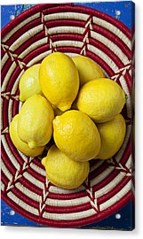 Red And White Basket Full Of Lemons Acrylic Print by Garry Gay