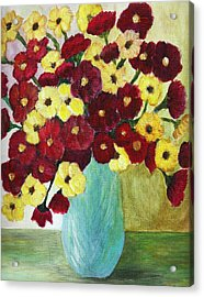 Acrylic Print featuring the painting Red And Yellow Bouquet In Blue by Christy Saunders Church