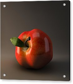 Red Apple Acrylic Print by BaloOm Animation Studios
