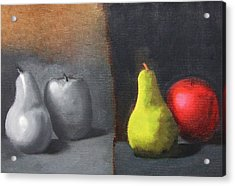 Red Apple Pears And Pepper In Color And Monochrome Black White Oil Food Kitchen Restaurant Chef Art Acrylic Print