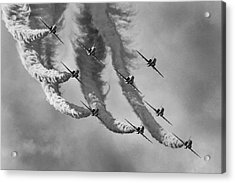 Red Arrows Black And White Acrylic Print by Ken Brannen