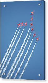 Red Arrows In Action Acrylic Print by Paul Cowan