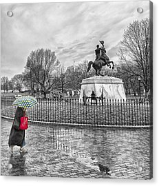 Acrylic Print featuring the photograph Red Bag Lafayette Park by Jim Moore