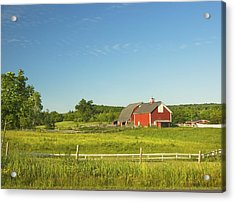 Red Barn And Fence On Farm In Maine Acrylic Print by Keith Webber Jr