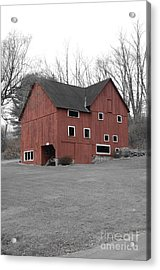 Red Barn In Black And White Acrylic Print by Randy Edwards