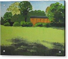 Red  Barn  In  Meadow Acrylic Print by Robert Rohrich