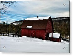 Red Barn In The Snow Acrylic Print by Bill Cannon