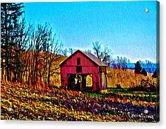 Red Barn On A Hillside Acrylic Print by Bill Cannon
