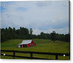 Red Barn Acrylic Print by Victoria Ashley
