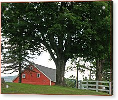 Red Barn White Fence Acrylic Print