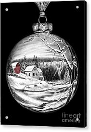 Red Barn Winter Scene Ornament  Acrylic Print by Peter Piatt