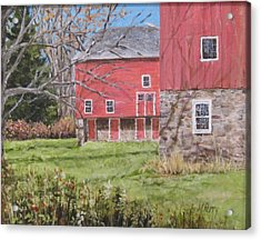 Red Barn With Shadows Acrylic Print