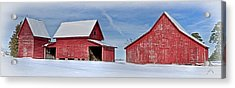 Acrylic Print featuring the photograph Red Barns In The Snow by Williams-Cairns Photography LLC