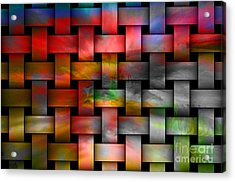 Red Basket Weave Abstract. Acrylic Print by Emilio Lovisa