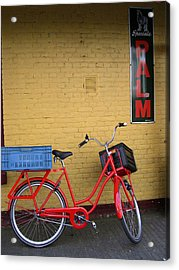 Red Bike With Blue Basket Acrylic Print by Jill Pro