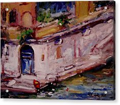 Red Boat Blue Door Acrylic Print by R W Goetting