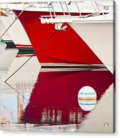 Red Boat Reflection Acrylic Print