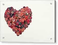 Red Button Heart Acrylic Print by Catherine MacBride