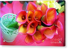 Red Calla Lilies Acrylic Print by AmaS Art