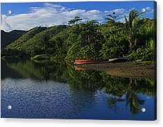 Red Canoe On Roseau River- St Lucia Acrylic Print by Chester Williams