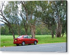 Red Car In The Countryside Acrylic Print