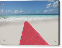 Red Carpet On A Beach Acrylic Print by Buena Vista Images