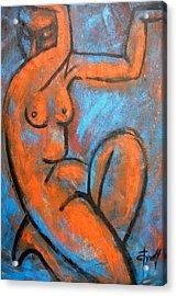 Red Caryatid - Nudes Gallery Acrylic Print by Carmen Tyrrell