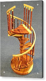 Red Cedar Rustic Spiral Stairs Acrylic Print by Don Lorenzen