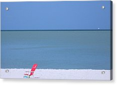 Red Chair And Sailboat Acrylic Print
