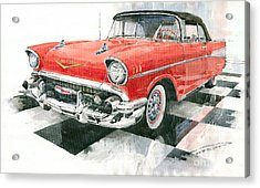 Red Chevrolet 1957 Acrylic Print by Yuriy  Shevchuk
