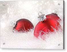 Red Christmas Balls In White Feathers  Acrylic Print by Sandra Cunningham