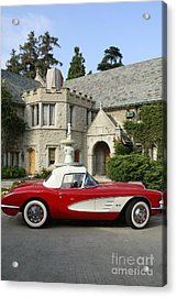Red Corvette Outside The Playboy Mansion Acrylic Print by Nina Prommer