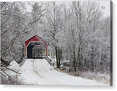 Red Covered Bridge In The Winter Acrylic Print by David Chapman