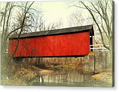 Red Covered Bridge Acrylic Print by Marty Koch
